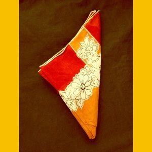 VTG Fall Colors Floral Print Handkerchief Hanky